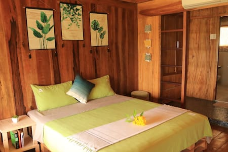Private room in wooden house with swimming pool