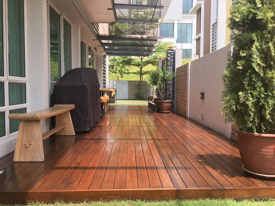 Wooden deck area with water fountain