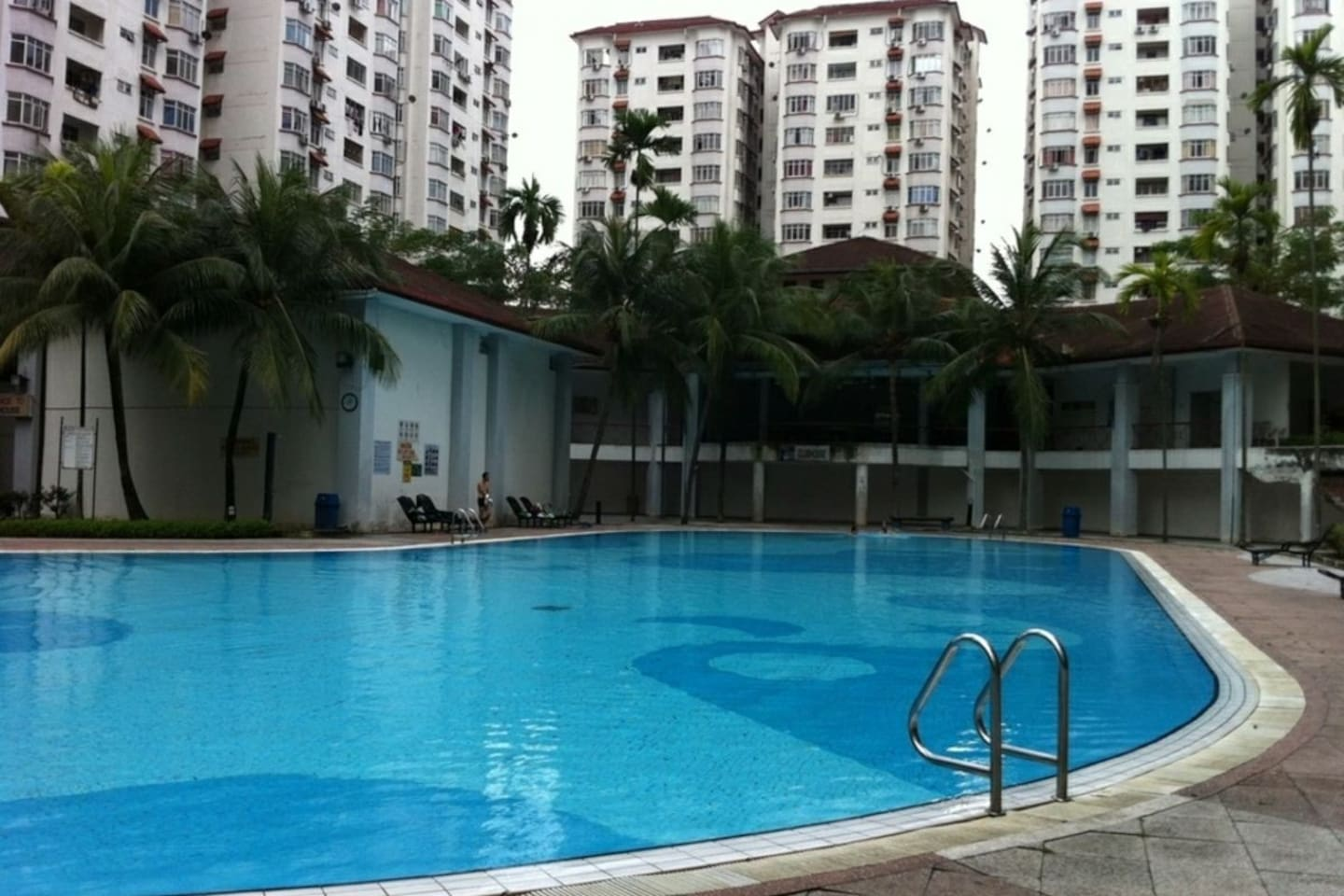 A good size swimming pool.