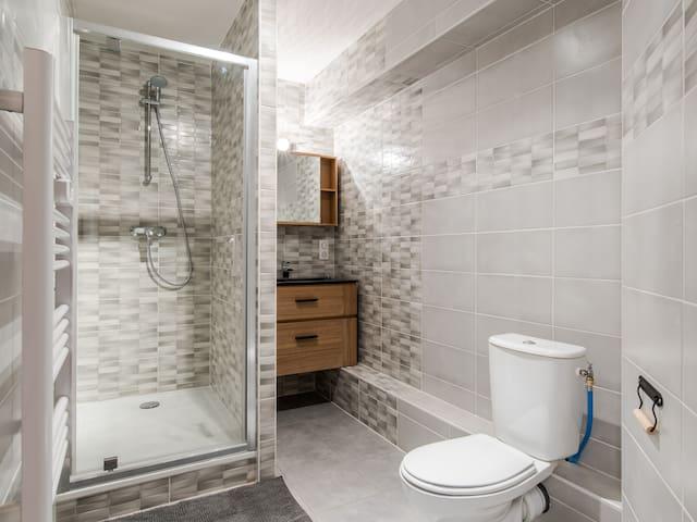 Vaste et agréable salle d'eau avec WC