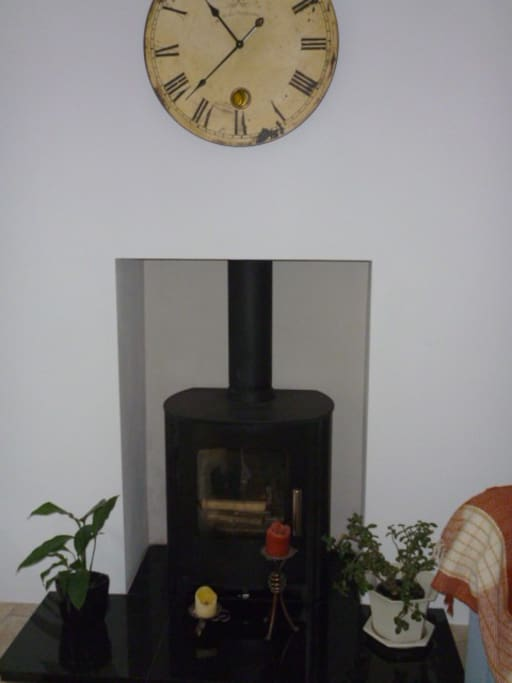 Woodburning stove in the hall