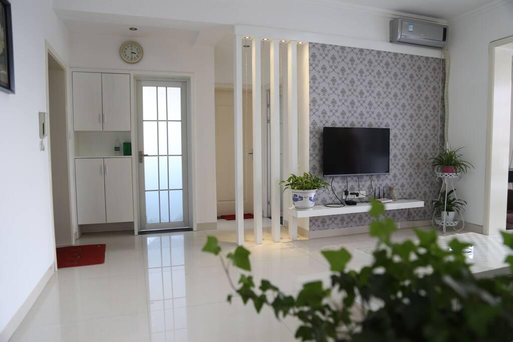 阁主亲自打造清雅格调的五星级客厅,采光充足,采用大品牌高档电器真皮沙发。