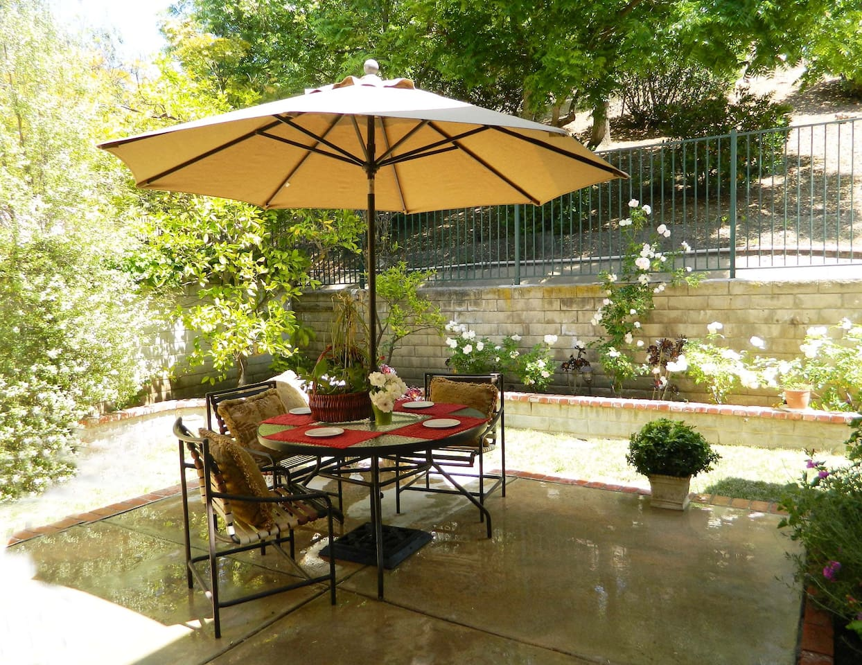 Enjoy a cup of coffee or tea on the patio