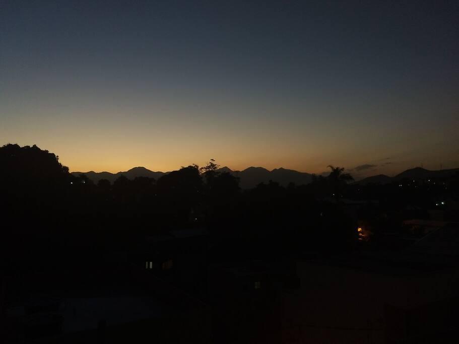 vista do por do sol