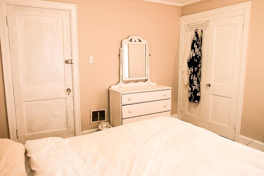 Bedroom #2 (R22) double bed, dresser, closet