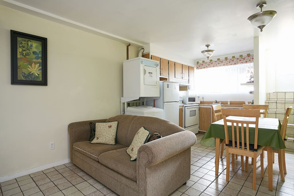 Open concept with sofa bed