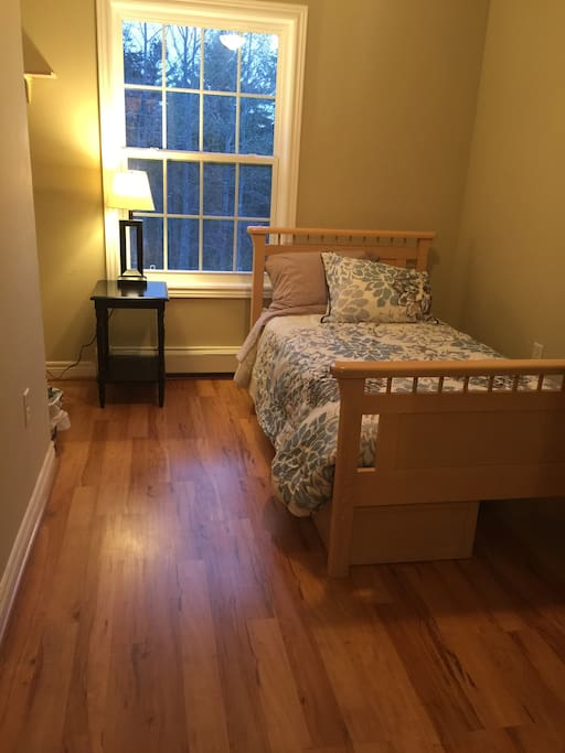 This small bedroom (BR #2) has a twin bed, night stand and closet.