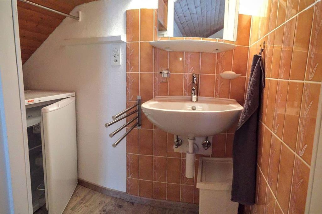 Un lavabo et un grand frigo privatif