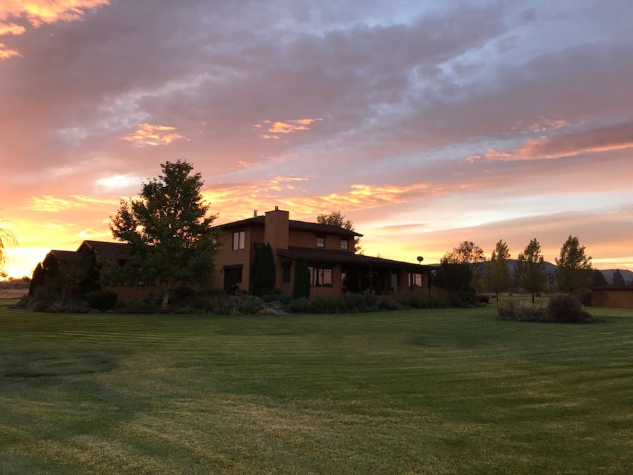 Tuscan style home in the country, rental is left portion of home, from second story on