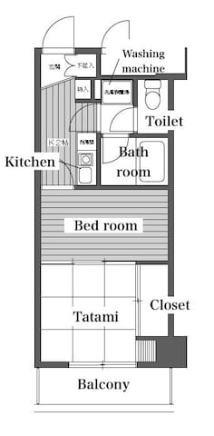 There are kitchen space & with separated bath and toilet.