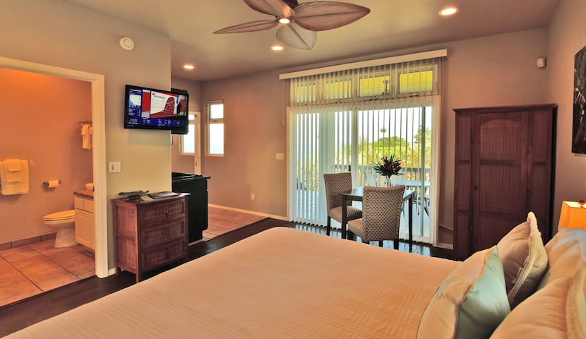 Master Suite 1:  Features an en-suite bathroom, table/chairs, and adjoining kitchen area.