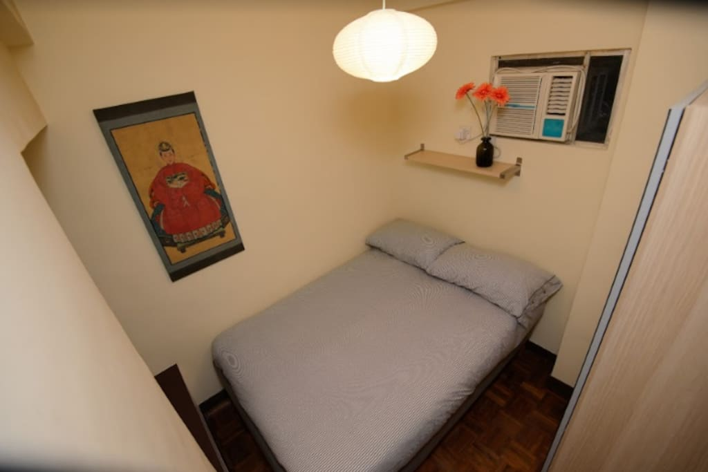 Your room with a double bed. Great for solo or couple travellers.