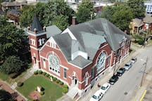 Overhead view of our building before we restored the roof.