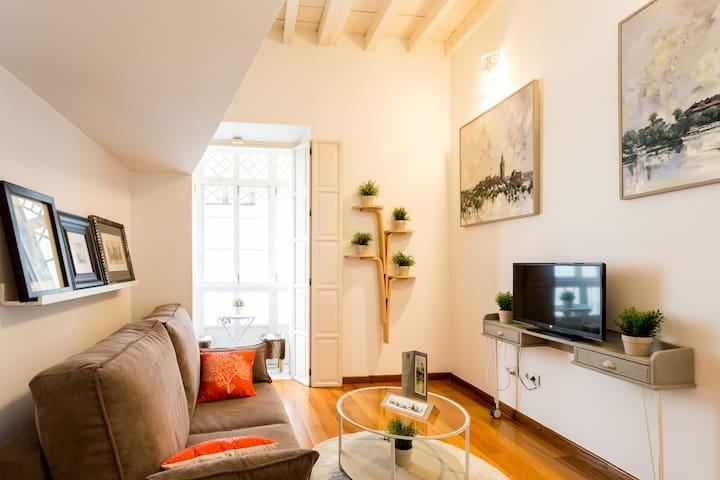Salón con sofa cama doble y TV pantalla plana