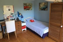 Bedroom 3, single bed and sleeper couch
