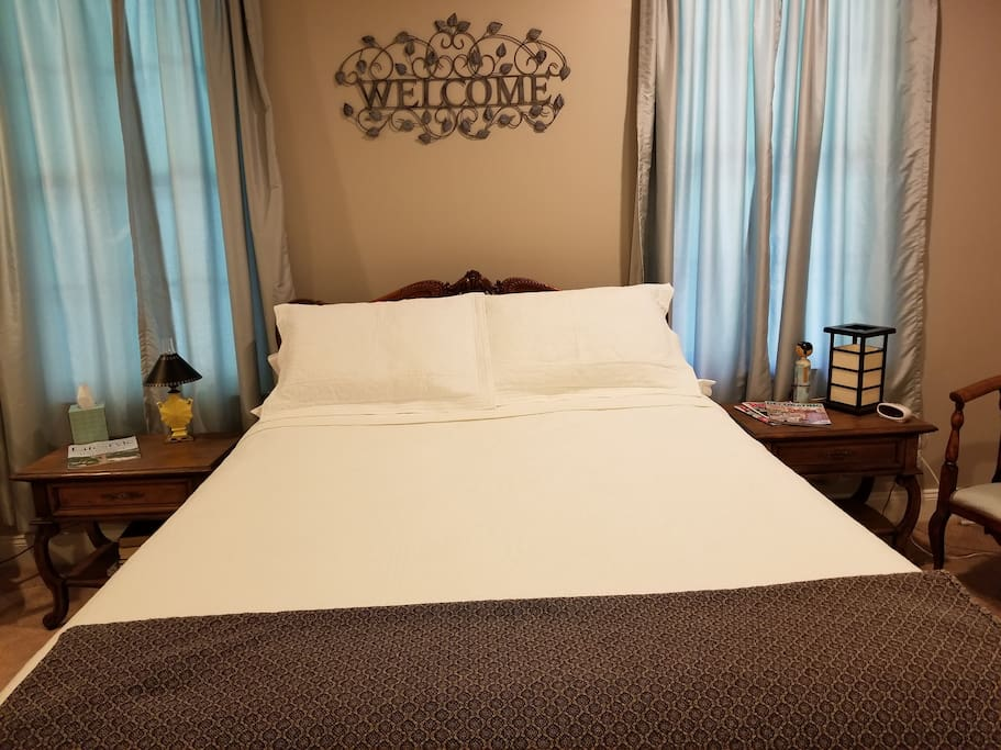 Relax on the fresh queen size bed.