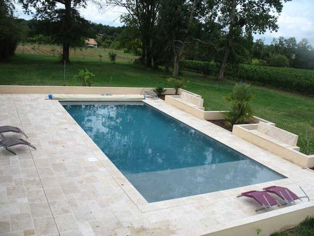 Gîte climatisé/piscine/étang ds les vignes (Blaye)