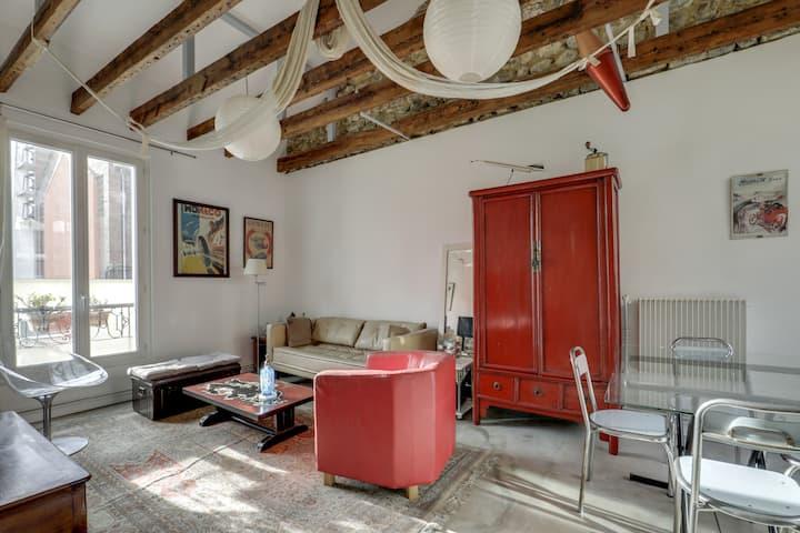 Appartement dans l'esprit loft à Montmartre