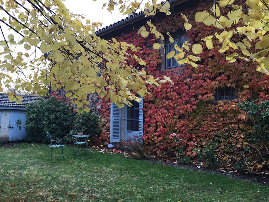 A l'automne, jardin privatif avec meubles jardin et barbecue