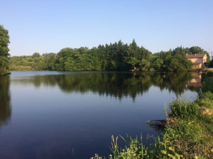 peaceful gite with large grounds, pool and fishing