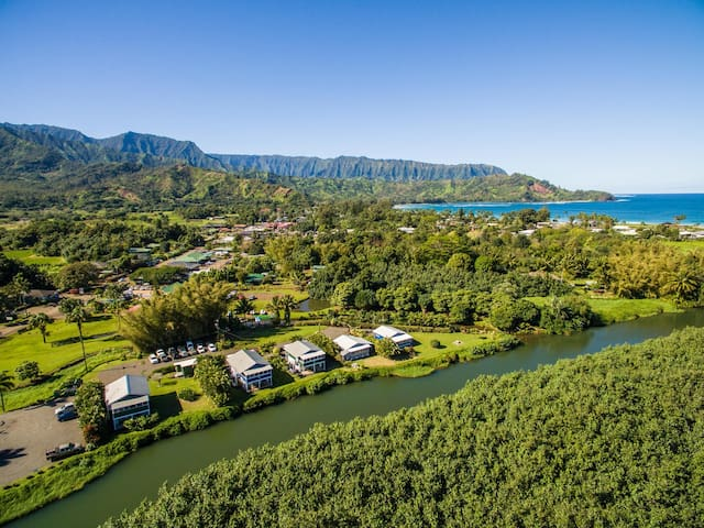 In the heart of Hanalei, our Dolphin Cottages are just minutes away from Hanalei Town and Hanalei Bay