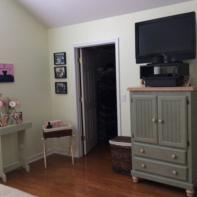 Walk-in in closet and TV