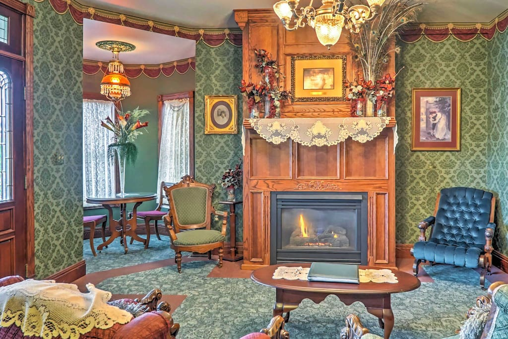 Enjoy a cup of tea as you sit by the fire and admire this unique home's historic characteristics.