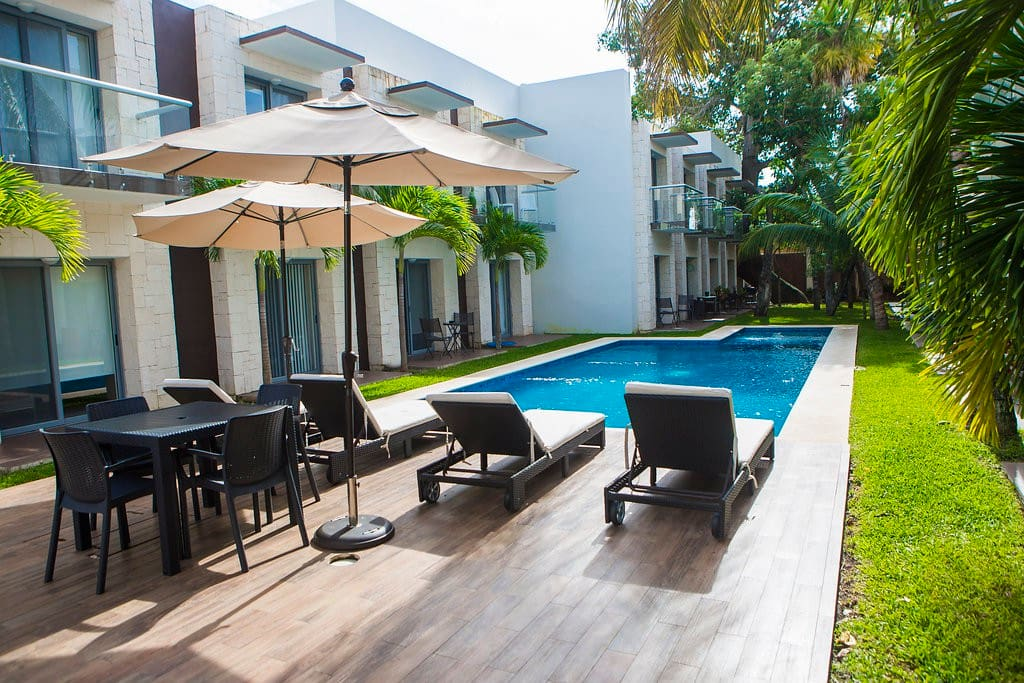 The main pool has a comfortable lounging area.