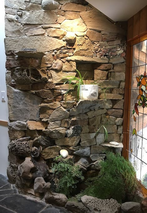 Entry wall with waterfall built by Merv Wilkinson