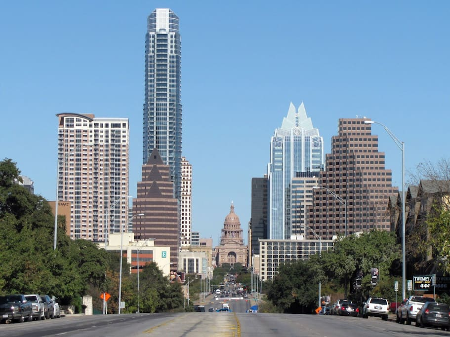 2.6 miles to Moody Theater (ACL HQ), Barton Springs go left, State Capital straight, 6th street to east side go right.