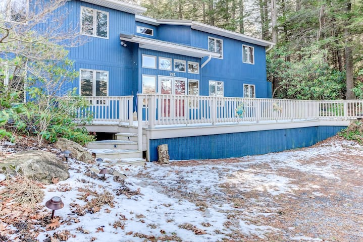 Lakefront home with direct water access, dock, and three fireplaces!