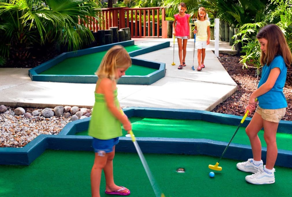 Mini golf available on site for a fee