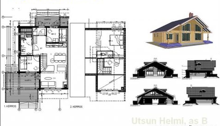 Functional layout with kitchen-living room with sofa bed, 2 bedrooms with bunk beds, upstairs master bedroom, sauna, bathroom, 2 toilets