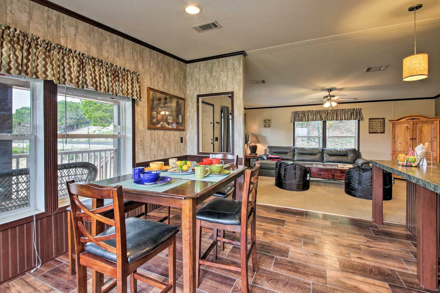 Enjoy breakfast with views of the Canyon Lake area at this vacation rental!