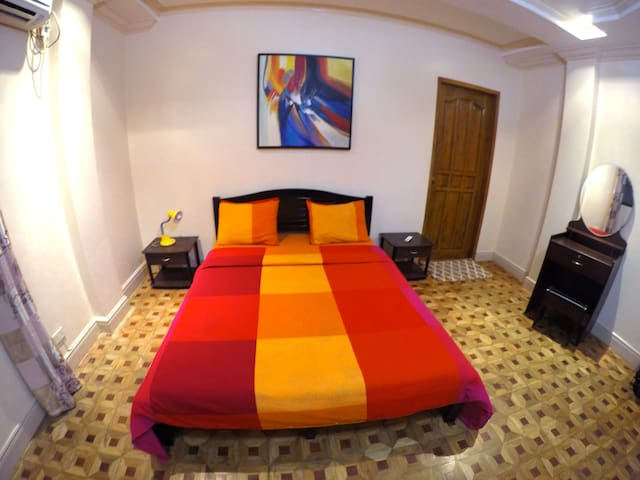 Feel at home in our Double room with AC and attached private bath room promo rate just PHP 2000.-. The double room rate is good for two persons additional person in the same room pay just PHP 400.- supplement.