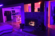Controllable Phillips Hue lights to set any mood you'd like!