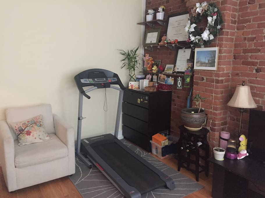 Treadmill in the living room for you to use
