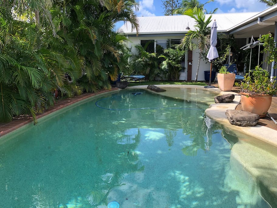 Large private family pool with 'beach style' entry and 2 hot water showers