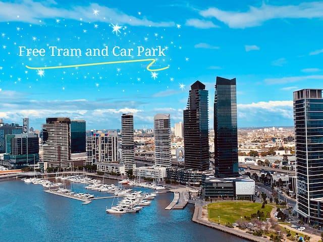 CBD 2BR+2BA Apt with Waterfront Views&Free Carpark