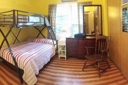 Sweet, comfy bunk room