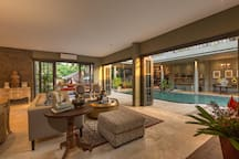 The living area with children pool view