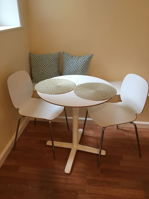 Eat in kitchen, table for 2 plus very long sitting bench