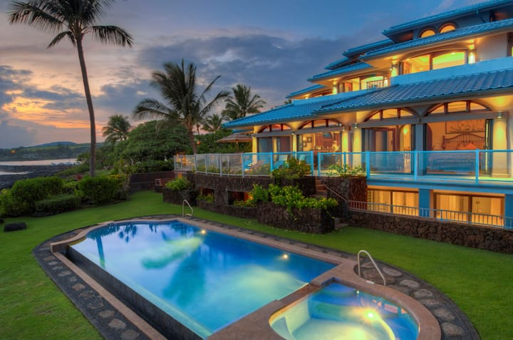 Paradisio Ho'o Kumu - Stunning Oceanfront with Pool, Spa and AC!