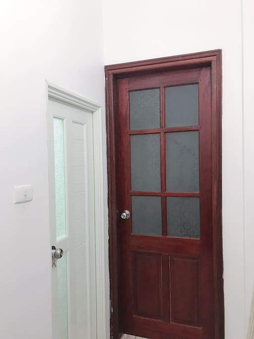Private bathroom next to room door