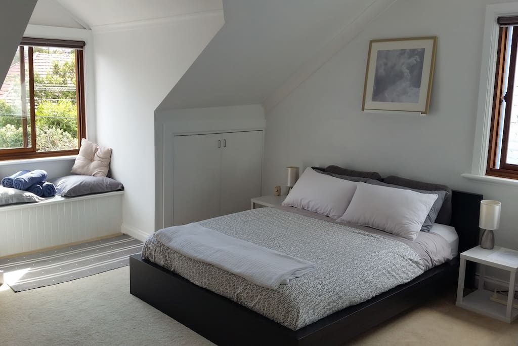 Very large, light and airy bedroom with queen size bed