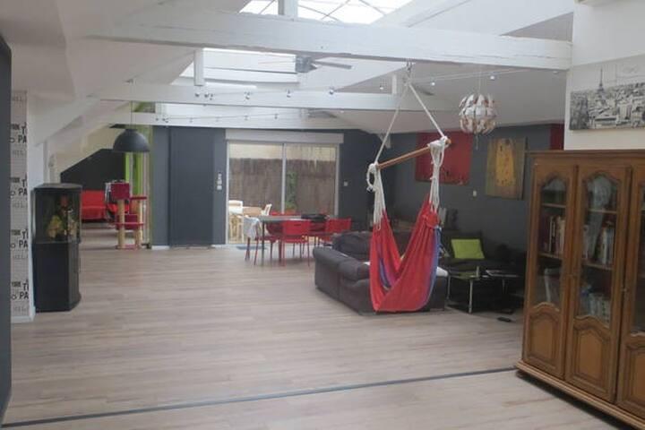 Chambre dans magnifique loft plein centre - Saint-Étienne - Loft