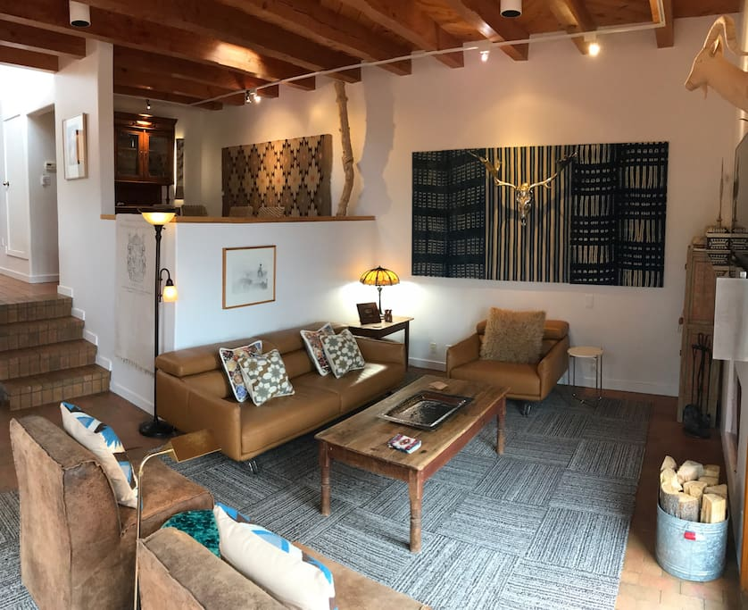 Rustic leather furniture in living room
