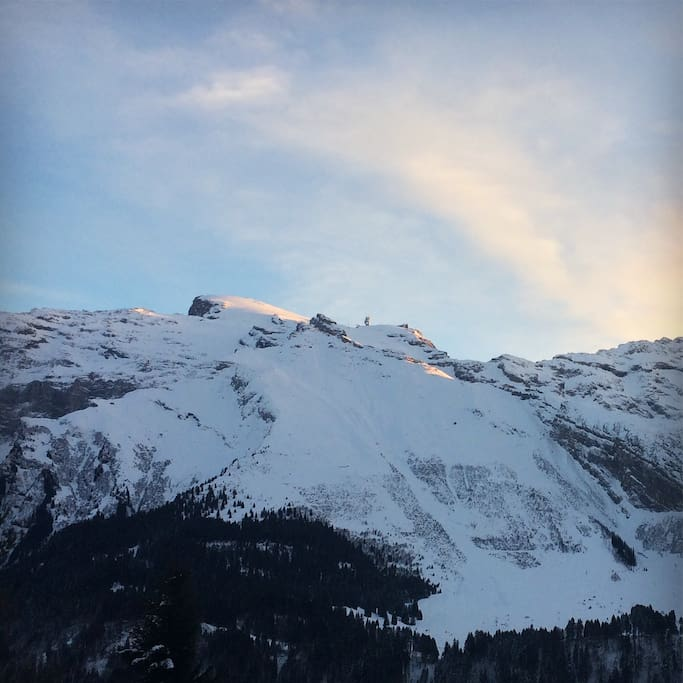 Titlis view from bed- and livingroom