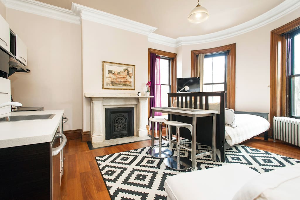 Placement of furniture varies but there are always high ceilings, period details and plenty of light and comfort