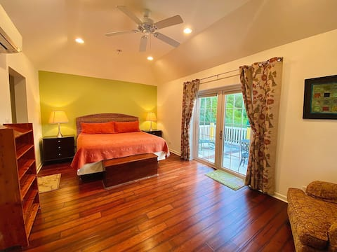 Spacious bedroom with patio and king size bed